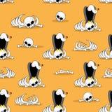 Vulture on bones in desert seamless pattern. Dead desert  Royalty Free Stock Image