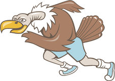 Vulture Buzzard Runner Running Cartoon. Illustration of a vulture buzzard condor runner running a marathon viewed from side on isolated white background done in Stock Photos