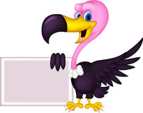 Vulture cartoon with blank sign Stock Images