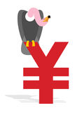 Vulture and Chinese Yen. Grief and sign of money in China.  Royalty Free Stock Images