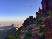Vulture Circling Vulture Peak, Near Vulture Mine & Wickenberg, Arizona. Vulture Peak Lies along the Wickenburg Highway between Tonopah, and Wickenburg, Arizona stock photo
