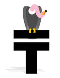 Vulture and Kazakhstan Tenge. Grief and a sign of money in Kazak Stock Photos