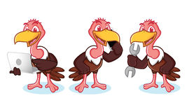 Vulture Mascot Vector with phone Stock Photos