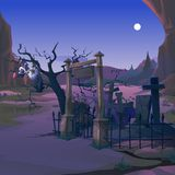 A vulture sits on the branch of a dead tree on the old cemetery in the night by the light of the full moon. Poster on stock illustration