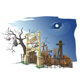 Vulture sits on tree near old cemetery. Twilight. Creator scene Stock Photo