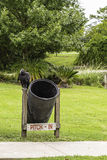 Vulture on Trash Can Stock Photo