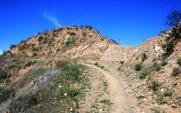 Vulture View Trail. Dirt road through foothills, Orange County, California Stock Images
