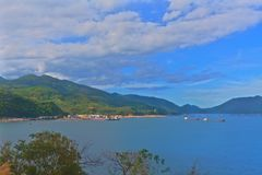 Vung Ro bay viewed from the train stock images