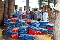 Vung Tau Fish Markets. People at the Vung Tau Fish Markets in Vietnam Royalty Free Stock Photo