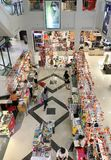 Imperial Plaza mall in Vung Tau, Vietnam. VUNG TAU, VIETNAM - AUGUST 26, 2017: A high angle view of people on the ground floor in the Imperial Plaza mall. Vung Stock Image