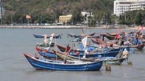 Vung Tau, Vietnam - January 27, 2018: Fishing boats at Vung Tau beach. Vung Tau, Vietnam - January 27, 2018: Fishing boats at Vung Tau beach stock footage