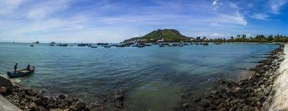 Vungtau sea. A panorama abour Bai Truoc, Vung Tau with fishermen, boat and sea Stock Photo