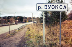 Vuoksa, roadsign with name of river Royalty Free Stock Images