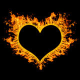 Vurig hart op zwarte achtergrond. Royalty-vrije Stock Foto