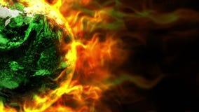 Vurige Aarde en Vlammenanimatie, Verontreinigingsconcept, het Teruggeven, Achtergrond, Lijn vector illustratie