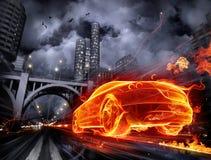 Vurige auto royalty-vrije illustratie