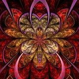 Vurige fractal bloem, digitaal kunstwerk royalty-vrije illustratie