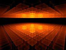 Vurige kubieke horizon op zwarte Royalty-vrije Stock Afbeelding