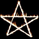 Vurige pentagram Stock Foto's