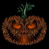 Vurige pompoen ominously het lachen glimlach voor Halloween Royalty-vrije Stock Fotografie