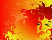Vurige vrouwenachtergrond stock illustratie