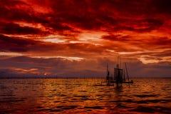 Vurige zonsondergang Royalty-vrije Stock Fotografie