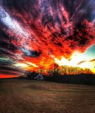 Vurige zonsondergang Stock Fotografie