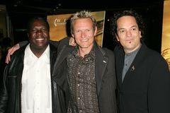 Vusi Mahlasela with Mark Kilian and Paul Hepker at the premiere of  Royalty Free Stock Photo
