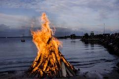 Vuur bij het strand royalty-vrije stock fotografie