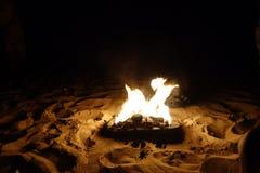 Vuur bij het strand Stock Afbeeldingen