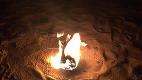Vuur bij nacht op de klem van de strandlengte stock video