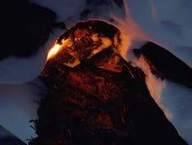 Vuur in de sneeuw in de winter stock foto
