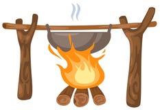 Vuur met het kamperen pot Stock Foto's