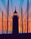 Vuurtoren bij de zonsopgang stock illustratie