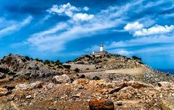 Vuurtoren bij Kaap Formentor in de Kust van Noord-Mallorca, Spanje Royalty-vrije Stock Fotografie