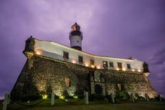 Vuurtoren bij nacht, Salvador, Bahia, Brazilië stock foto