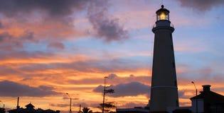Vuurtoren bij schemer. Punta del Este, Uruguay. Royalty-vrije Stock Fotografie