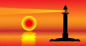 Vuurtoren bij zonsondergang royalty-vrije illustratie
