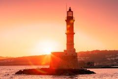 Vuurtoren bij zonsopgang, Chania, Kreta, Griekenland royalty-vrije stock afbeelding