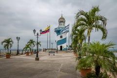 Vuurtoren bovenop Santa Ana-heuvel - Guayaquil, Ecuador Stock Foto
