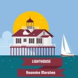 Vuurtoren De Moerassen Lighthous van Roanoke Vuurtoren op de vectorachtergrond van het eilandbeeldverhaal Vlakke vectorillustrati Royalty-vrije Stock Afbeeldingen