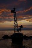 Vuurtoren - dramatische zonsondergang Royalty-vrije Stock Foto