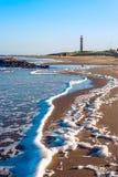 Vuurtoren en beroemd strand in Jose Ignacio royalty-vrije stock afbeeldingen