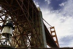 Vuurtoren en Golden gate bridge Royalty-vrije Stock Afbeeldingen