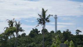 Vuurtoren en tropische palmen Malapascuaeiland stock videobeelden