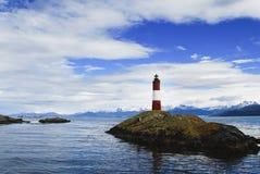 Vuurtoren in het overzees, Patagonië Stock Foto