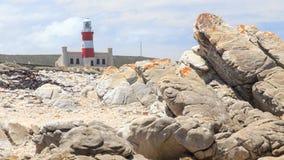 Vuurtoren (Kaap Agulhas 1848 in Zuid-Afrika) royalty-vrije stock afbeeldingen