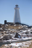 Vuurtoren in Kaapspear, Newfoundland en Labrador stock foto's