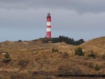 Vuurtoren op eilandamrum, Duitse kust Stock Afbeelding