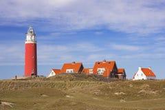 Vuurtoren op het Eiland Texel in Nederland stock afbeeldingen
